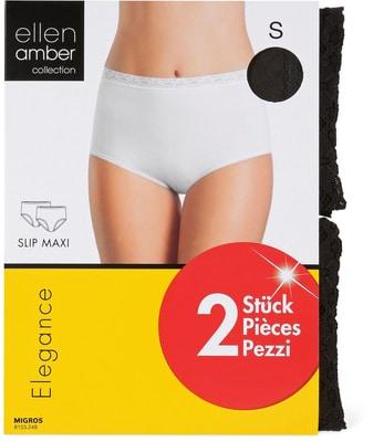 Damen Slip Maxi 2er Pack schwarz