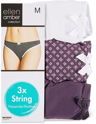 Damen String 3er Pack weiss