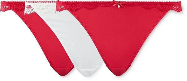String pour femme lot de 3 rouge