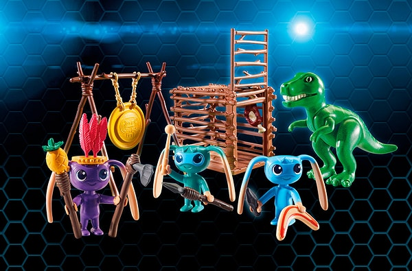 Playmobil Super 4 Tribu d'Alien avec bébé tyrannosaure 9006