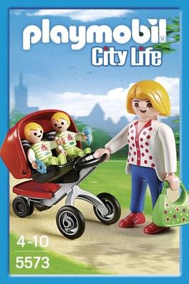 PLAYMOBIL City Life Maman avec jumeaux et landau 5573