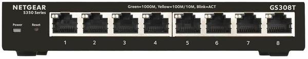 Netgear GS308T 8 Port Gigabit Ethernet Smart Managed Pro Netzwerk/LAN Switch Switch
