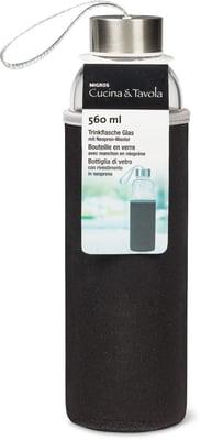 Cucina & Tavola Trinkflasche aus Glas mit Neopren-Mantel