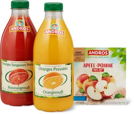 Tous les jus frais et compotes Andros