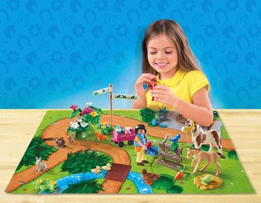 Playmobil Cavaliers et poneys avec support de jeu