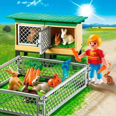 PLAYMOBIL Country Enfant avec enclos à lapins et clapier  6140