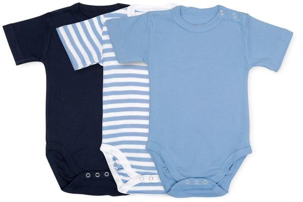 BIO BABY BODY KURZARM 3ER PACK blau
