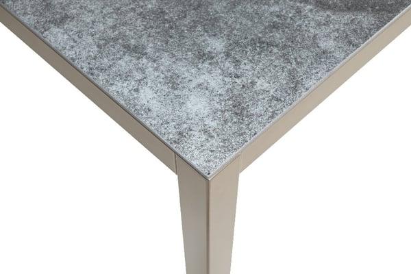 LOCARNO, Gestell Polar Silber, Platte Keramik Gartentisch