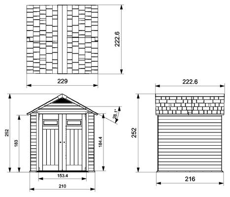 gartenhaus aus wpc 757 migros. Black Bedroom Furniture Sets. Home Design Ideas