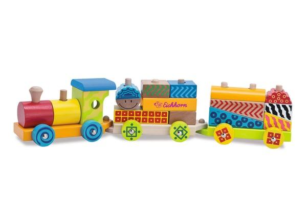 Eichhorn Color Holzzug, 3 tlg. Zug mit 17 Bausteine (FSC®) Spielfahrzeug