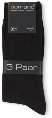 CAMANO HERREN SOCKEN COTTON 3ER PACK schwarz