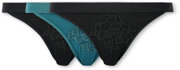 Damen Slip 3er Pack schwarz