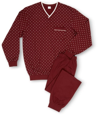 BIO HERREN PYJAMA ALLOVERPRINT JERSEY bordeaux