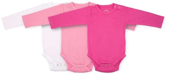 BIO BABY BODY LANGARM 3ER PACK pink