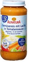 Alnatura Gemüsereis mit Lachs in Tomatensauce