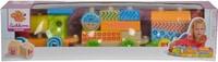 EH couleur de train en bois, 3 pcs. Train avec 17 blocs de construct(FSC®)