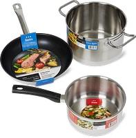 Prima-, Gastro-, Titan- und Deluxe-Kochgeschirr-Serie und Deckel der Marke Cucina & Tavola