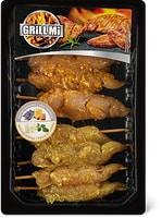 Brochettes de poulet Optigal       marinées miel-lavande