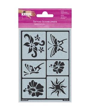 Tattoo Schablone Sonne, Blumen, Schmetterlinge