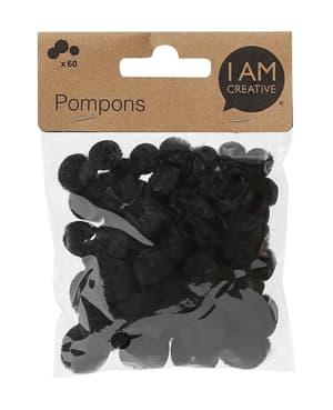 Pompons, noir, 10, 15, 20mm, 60 pcs.