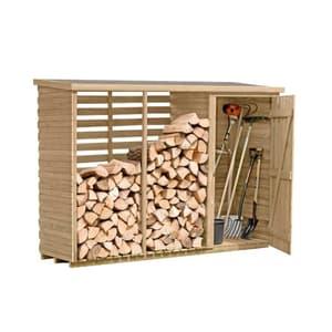 Armoire à outils avec étagère à bois de cheminée