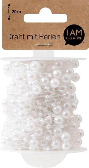 Fil métallique perle, blanc