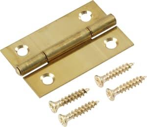Scharnier mit Schraube vermessingt 40 x 25 mm