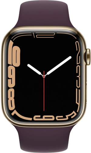 Watch Series 7 GPS + Cellular, 45mm Gold Stainless Steel Case with Dark Cherry Sport Band