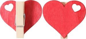 Clip a cuore in legno