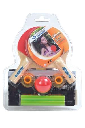 2 mini raquettes de tennis de table, 1 mini balle, filet avec montants emballé sous blister