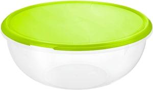 RONDO Schüssel 6l mit Deckel, Kunststoff (PP) BPA-frei, transparent/grün