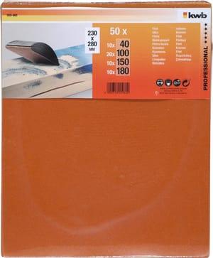 Feuilles de papier abrasif flint assorties, 50 pcs.