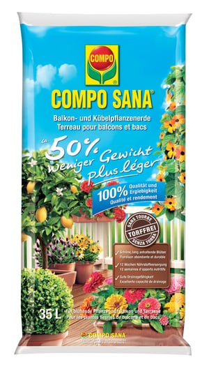 Terriccio senza torba per tutte le piante fiorite da balcone e in vaso50% di peso in meno, 35 l