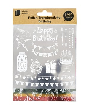 Folien Transfersticker Birthday, silber / bunt