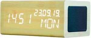 Sveglia con funzione di ricarica Qi e altoparlante BT bambù