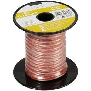 Câble audio, câble de haut-parleur, transparent 2x 0,75 mm², 10,0 m