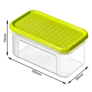 DOMINO Vorratsdose 0.5l mit Deckel, Kunststoff (PP) BPA-frei, transparent/grün