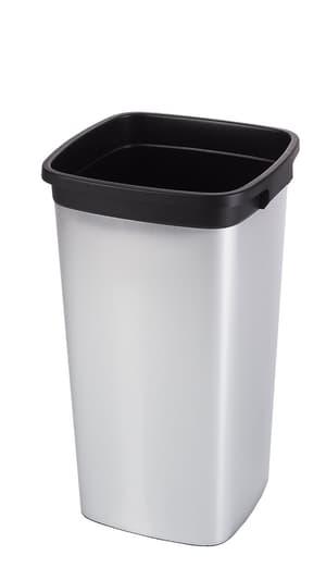 Rotho Pro Iris Mülleimer 60l ohne Deckel, Kunststoff (PP) BPA-frei, silber/schwarz
