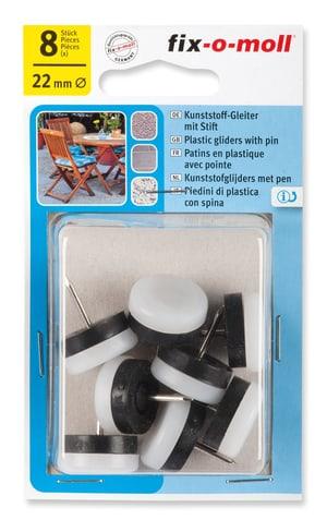 Kunststoffgleiter mit Stift 4 mm / Ø 22 mm 8 x