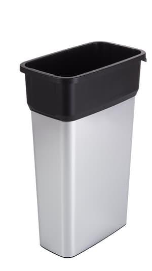 Rotho Pro Geo Premium Mülleimer 70l ohne Deckel, Kunststoff (PP) BPA-frei, silber/schwarz