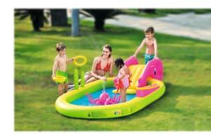 Piscina ovale per 5-6 bambini, facile da gonfiare con collegamento all'acqua, scivolo, Octopus Sprayer