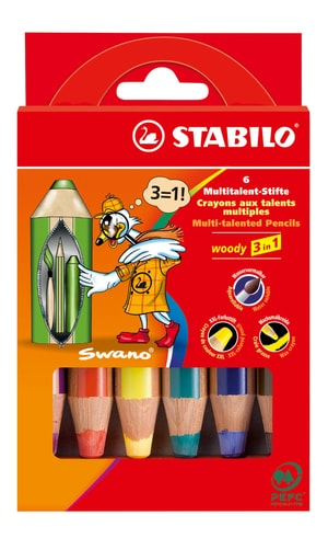 Matita Multitalent STABILO® Woody 3 in 1, 6 matite