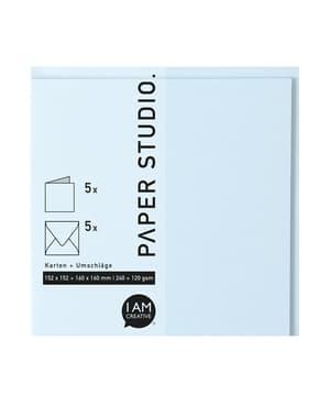 Karten+Umschläge Quadratisch, 2X5Stück, hellblau