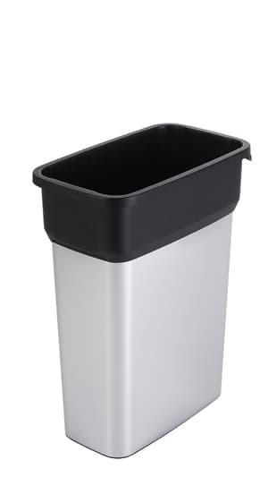 Rotho Pro Geo Premium Mülleimer 55l ohne Deckel, Kunststoff (PP) BPA-frei, silber/schwarz