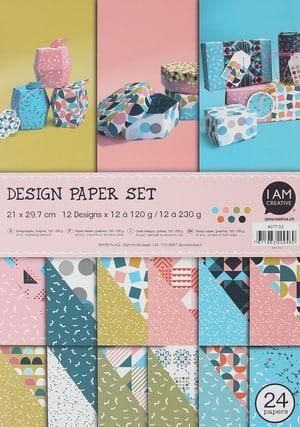Design Papier Graphik, Papierblock mit beidseitig bedruckten Papierbögen in 12 verschiedenen Designs, A4, 120 - 230 g, 24 Blätter
