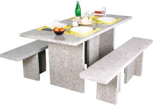 Tavolo rettangolare con panche in granito