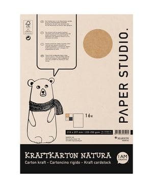 Kraftkartonblock A4, 16 Blatt sortiert