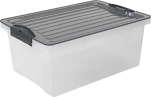 Compact Aufbewahrungsbox 13l mit Deckel, Kunststoff (PP) BPA-frei, grau/transparent, A4