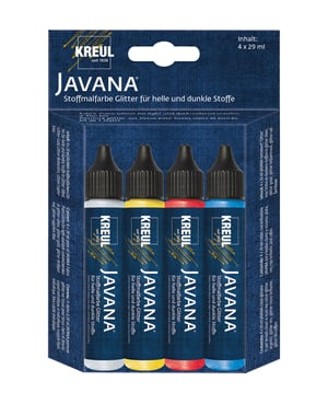 KREUL Javana Stoffmalfarben Glitter Set 4 x 29 ml