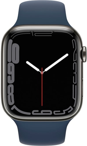 Watch Series 7 GPS + Cellular, 45mm Graphite Stainless Steel Case with Abyss Blue Sport Band